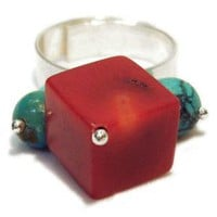 Ring with turquoise and coral red