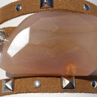 Camel color leather wrap bracelet with chunky Chalcedony sto
