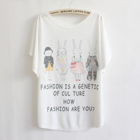 fashion rabbit bat sleeve round neck short sleeve T-shirt loose wild Tops girls t-shirts