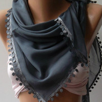 Grey  Shawl with Lace - Turkish Shawl - Anatolians Scarf - Yemeni