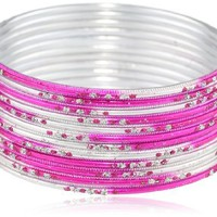 Chamak by priya kakkar 12-Piece Gradient Hot Pink and Silver Metal with Glitter Bangle Bracelet Set:Amazon:Jewelry