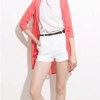 Red Longline Semi-sheer Chiffon Coat with Open Front and Elbow Sleeves