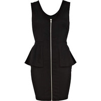 Black zip front peplum dress  - peplum dresses - dresses - women