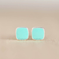 Mini Square Stud Earrings, Turquoise Blue Studs, Tiffany Blue Posts