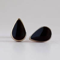 Mini Teardrop Stud Earrings, Drop Studs, Rain Drop Posts, Jet Black Color