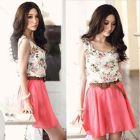 Women's Flower Pattern Sleeveless Chiffon Comfort Summer Skirt Mini Dress