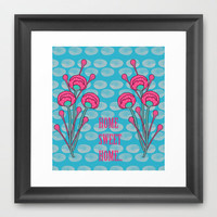 Blue Sea - floral Framed Art Print by nandita singh