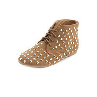 Studded Lace-Up Ankle Bootie: Charlotte Russe