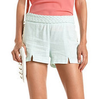 High Waisted Braided Linen Short: Charlotte Russe