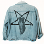 Faded Denim Grunge Jacket With Lucifurr Print by MostAdventurous