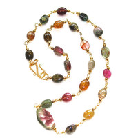 Rustic Watermelon Tourmaline Slice Necklace Rainbow Tourmaline Station Necklace Gemstone Jewelry