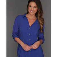 TWO by Vince Camuto Mixed Media Button Up Shirt Cobalt - Zappos.com Free Shipping BOTH Ways
