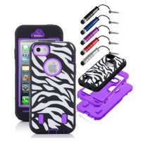 Jersey Bling (TM) Zebra Iphone 5 Case & FREE Stylus COMBO!! Includes 1 Zebra Hybrid 3 Piece Defender Protector Case Cover for Iphone 5 & 1 Metallic Dust Plug Mini Stylus (Zebra w/Purple)