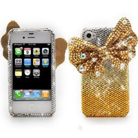GOLD Diamond Celebrity Stylin Luxury Crystal Iphone 4/4s Case with HUGE 3D Bow by Jersey Bling