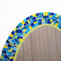 Oval Mosaic Mirror, Blue and Yellow