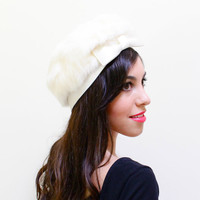 Vintage White Fur Hat - Mid Century Elegant Mink Fashion Accessory / Satin Bow