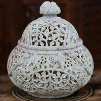 Novica Elephant Luxuries Soapstone Jar  - Decorative Accents - Cost Plus World Market