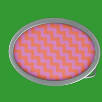 Stylish Belt Buckle with Pink and Orange Zigzags from Zazzle.com