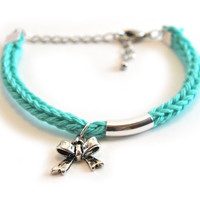 Mint bracelet with bow charm, silver plated bow and tube, knit bracelet