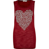 Red embellished heart vest  - print t-shirts / vests - t shirts / vests / sweats - women