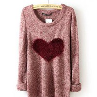 Wine Red Love Heart Loose Long Sleeve Sweater