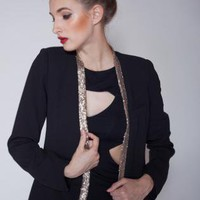 Blacker Blazer with Gold Sequin Detail