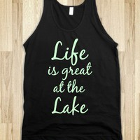 """Life is great at the Lake"" - Bass&Body Shop - Skreened T-shirts, Organic Shirts, Hoodies, Kids Tees, Baby One-Pieces and Tote Bags"