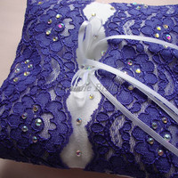 Ring Pillow, Purple lace square ring pillow