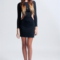 Black Long Sleeve Cutout Mini Dress