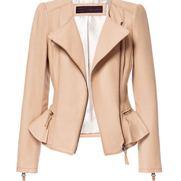 LEATHER JACKET WITH RUFFLE DETAIL - Blazers - Woman - ZARA United States