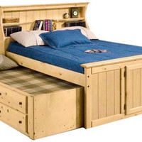 Lowell Full Size Bookcase Combo Captain's Bed