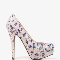 Sequined Tulip Print Pumps