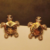 Cutie Turtle Rhinestone Fashion Earrings | LilyFair Jewelry