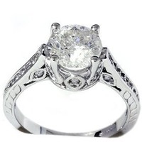 HUGE 2.33CT ROUND DIAMOND VINTAGE ENGAGEMENT RING ANTIQUE HEIRLOOM HAND ENGRAVED
