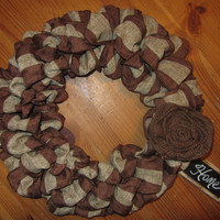 "NEW 16"" Brown/ Burlap Wreath with Chalkboard Sign and Choice of  Burlap Flower Country Chic"
