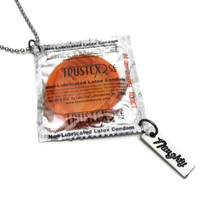 Condom Necklace - Naughty - Safe Sex Necklace
