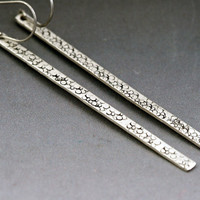 Long Bar Earrings - Eco Friendly Sterling Silver