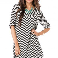 Zig Zag Shift Dress in Classic - ShopSosie.com