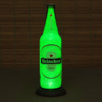 "Big 24oz Heineken Beer Bottle Lamp/Bar Light /  VIDEO DEMO-Intense Sparkle and Glow / ""Diamond Like"" Glass Crystals on Inside Surface"