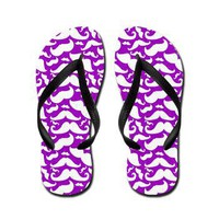 Mustache Flip Flops Purple and White - Flip Flop Sandals - Lesruba Designs