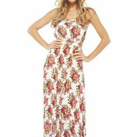 Floral Bouquets Strapless Maxi Dress