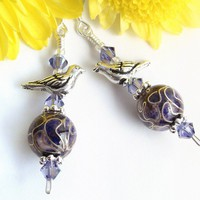 Cloisonne Dangle Earrings, Purple, Silver Birds, Swarovski Crystals