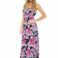 Dark Floral Strapless Maxidress