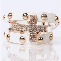 snap bracelet with stone cross and studs - 1000047119 - debshops.com