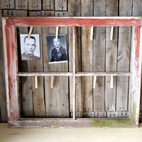 Repurposed Salvaged Farmhouse Wood Window Picture Frame With Clothes Pins and Wire