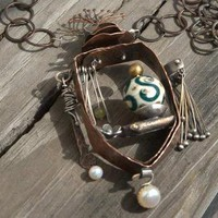 Treasury Necklace Mixed Metal Pearls Copper Sterling by ExCognito