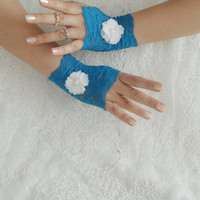 blue lace glove, floral glove, bridesmaid gift, wedding glove, bellydance, prom party glove, something blue, FREE SHIP