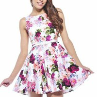 White Floral Printed Dress with White Belt