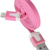 10' FT (Extra Long)Flat Noodle Pink USB Sync Cable Power Cord Charger iPod touch, iPod 5th, Nano 7th, iPad 4