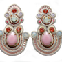 STRAWBERRIES AND CREAM soutache earrings in pinks with ivory and white opal